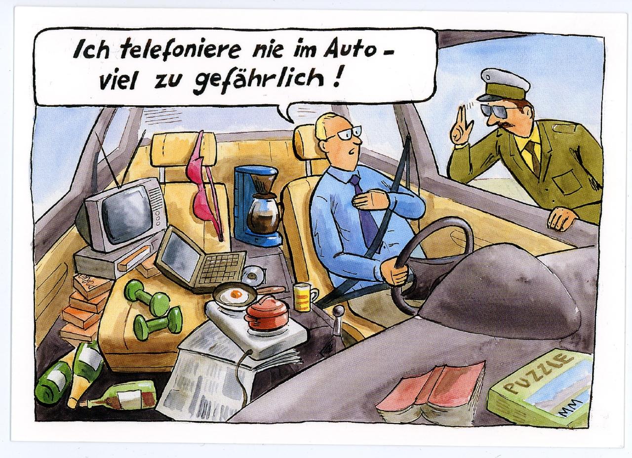 """""""Im Auto telefonieren"""" 2000-2005 Ausstellung 150 Jahre Postkarte Museum für Kommunikation Berlin"""
