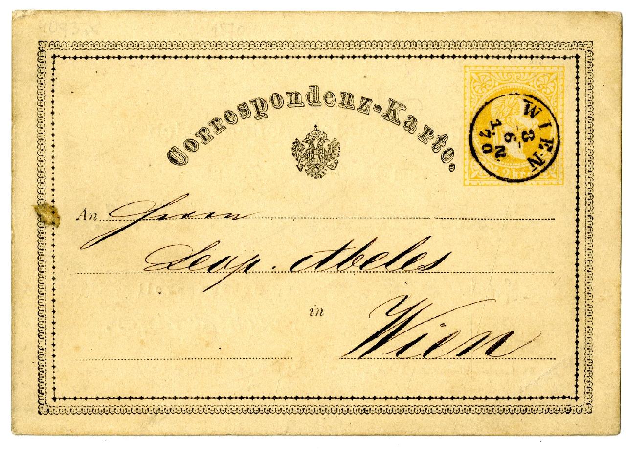 Correspondenz-Karte Österreich 08.06.1870 Ausstellung 150 Jahre Postkarte Museum für Kommunikation Berlin