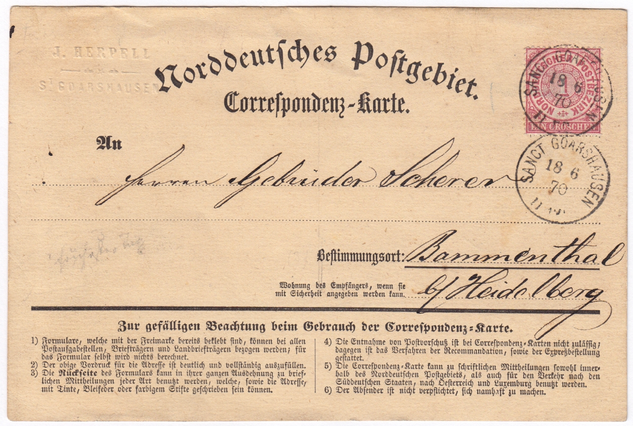 Correspondenz-Karte von Sanct Goarshausen nach Bammenthal mit Norddeutscher Bund 1870 Vorderseite Ausstellung 150 Jahre Postkarte Museum für Kommunikation Berlin