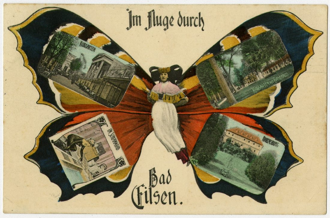 """""""Grüße aus"""", Bad Eilsen. 17.05.1908 Ausstellung 150 Jahre Postkarte Museum für Kommunikation Berlin"""