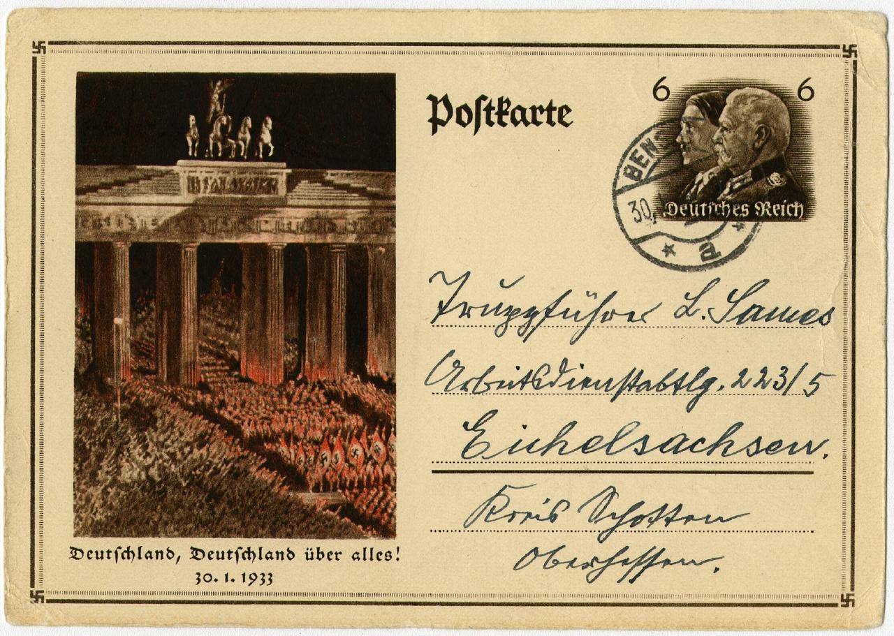 Machtergreifung 30.01.1933 Ausstellung 150 Jahre Postkarte Museum für Kommunikation Berlin