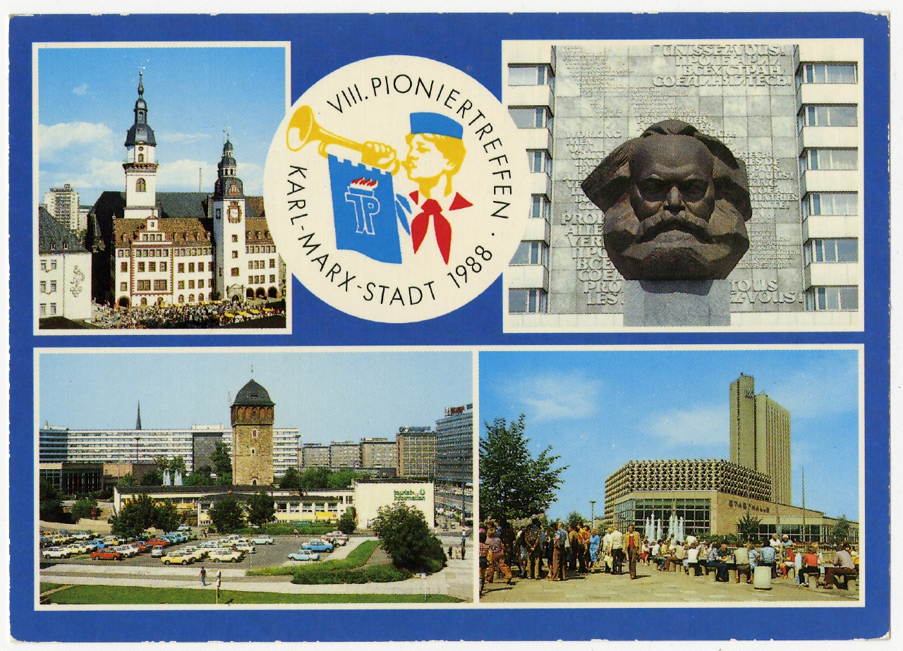 8. Pioniertreffen Karl Marx Stadt, 1988 Ausstellung 150 Jahre Postkarte Museum für Kommunikation Berlin