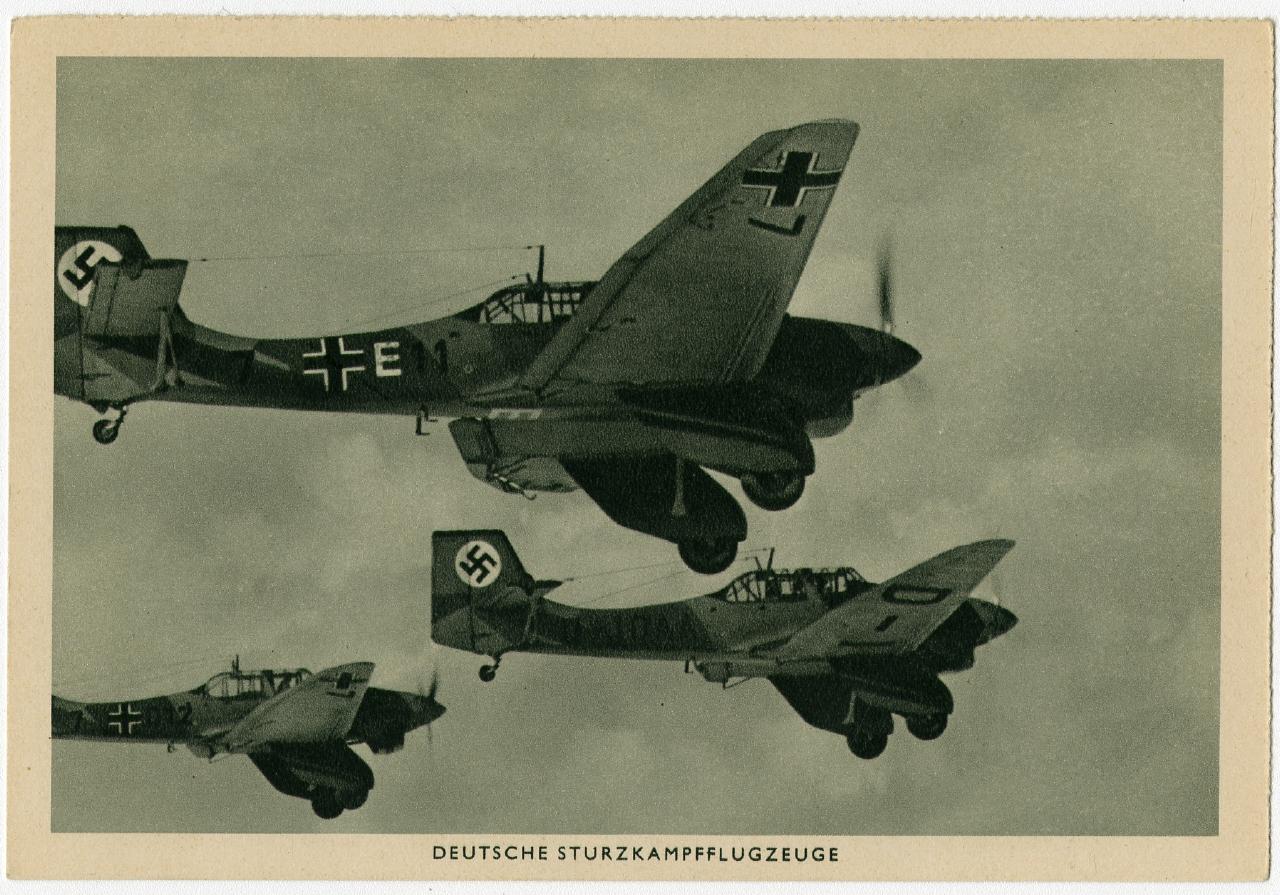 Deutsche Sturzkampfflugzeuge 1938  Ausstellung 150 Jahre Postkarte Museum für Kommunikation Berlin