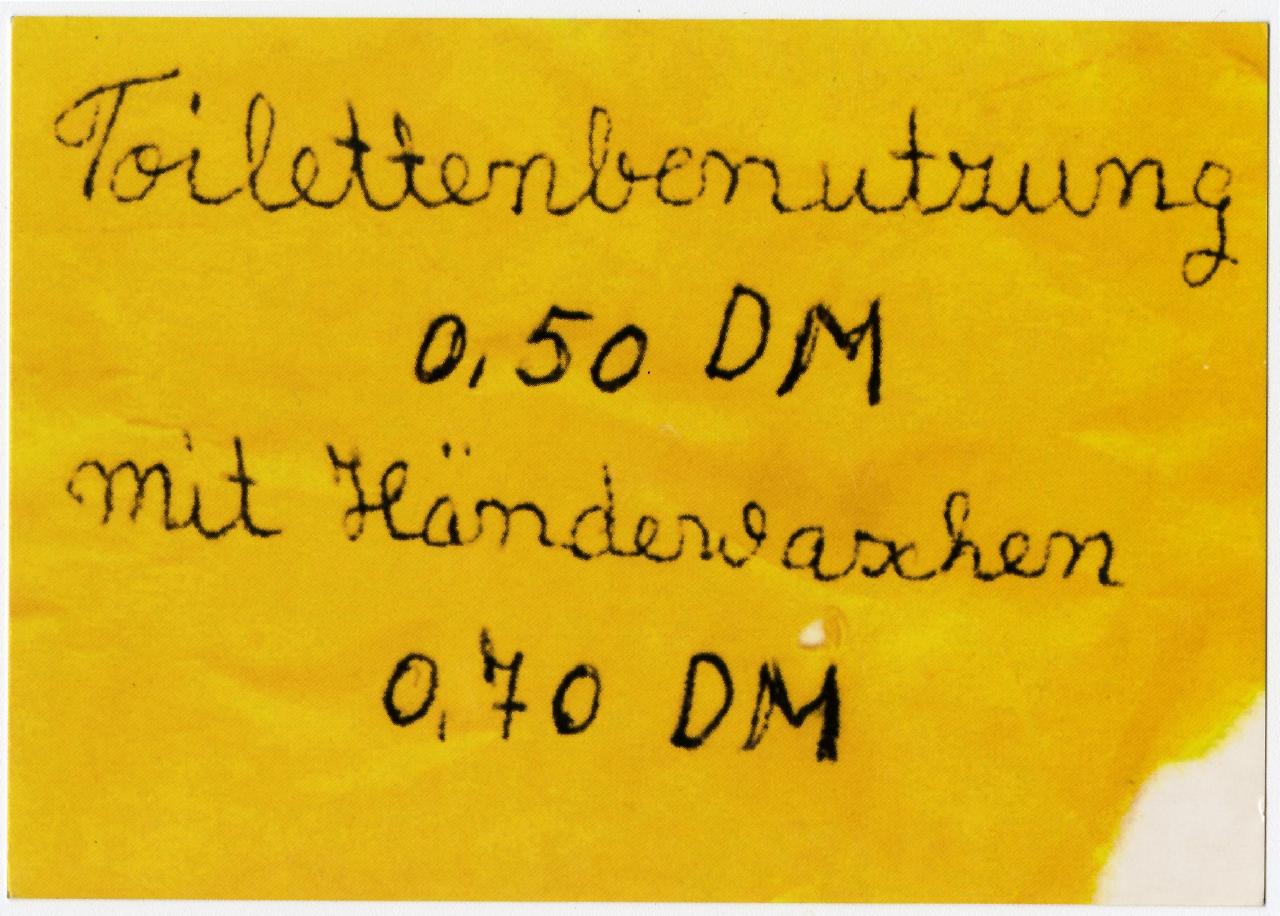 Toilettennutzung. Edgar Karte, 1990 – 2002 Ausstellung 150 Jahre Postkarte Museum für Kommunikation Berlin