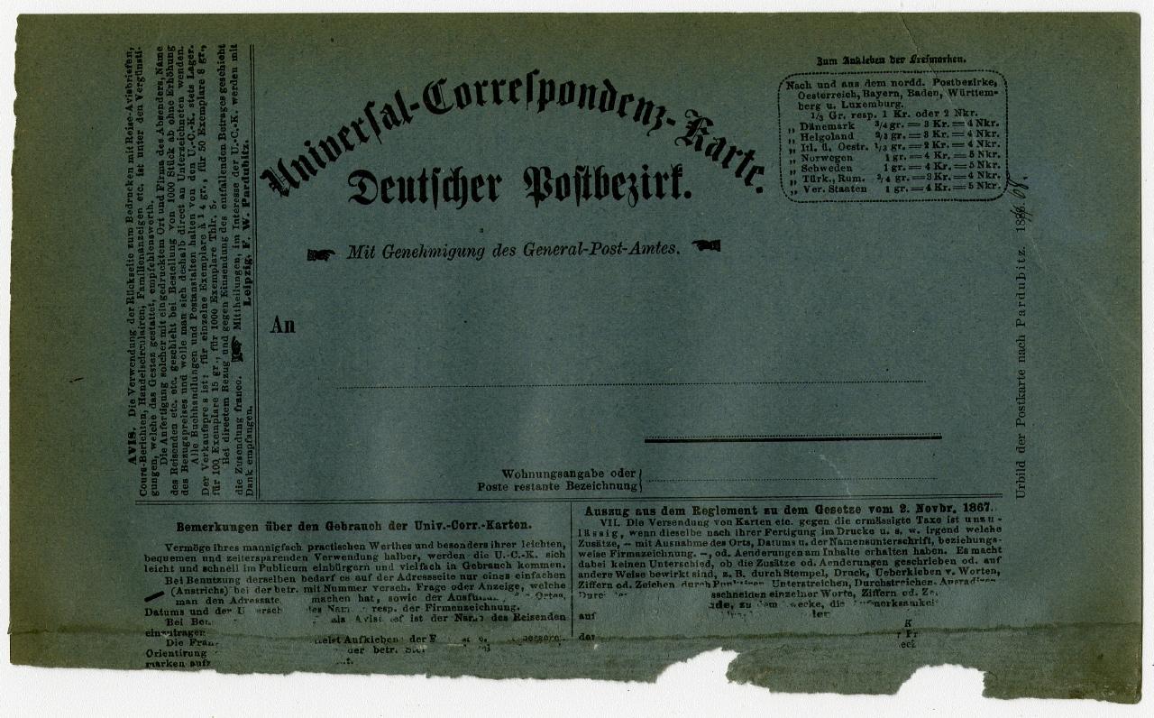"""""""Universal-Correspondenz-Karte Deutscher Postbezirk""""  1868 Ausstellung 150 Jahre Postkarte Museum für Kommunikation Berlin"""
