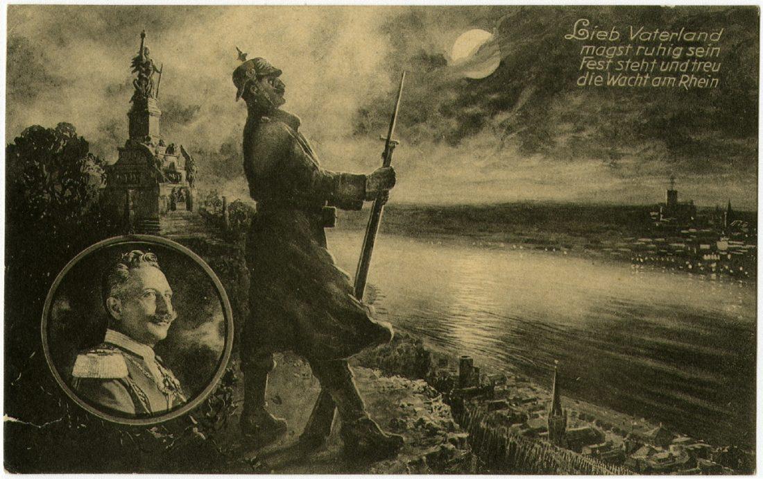 """""""Kaisertreu"""", Wacht am Rhein. Um 1913 Ausstellung 150 Jahre Postkarte Museum für Kommunikation Berlin"""