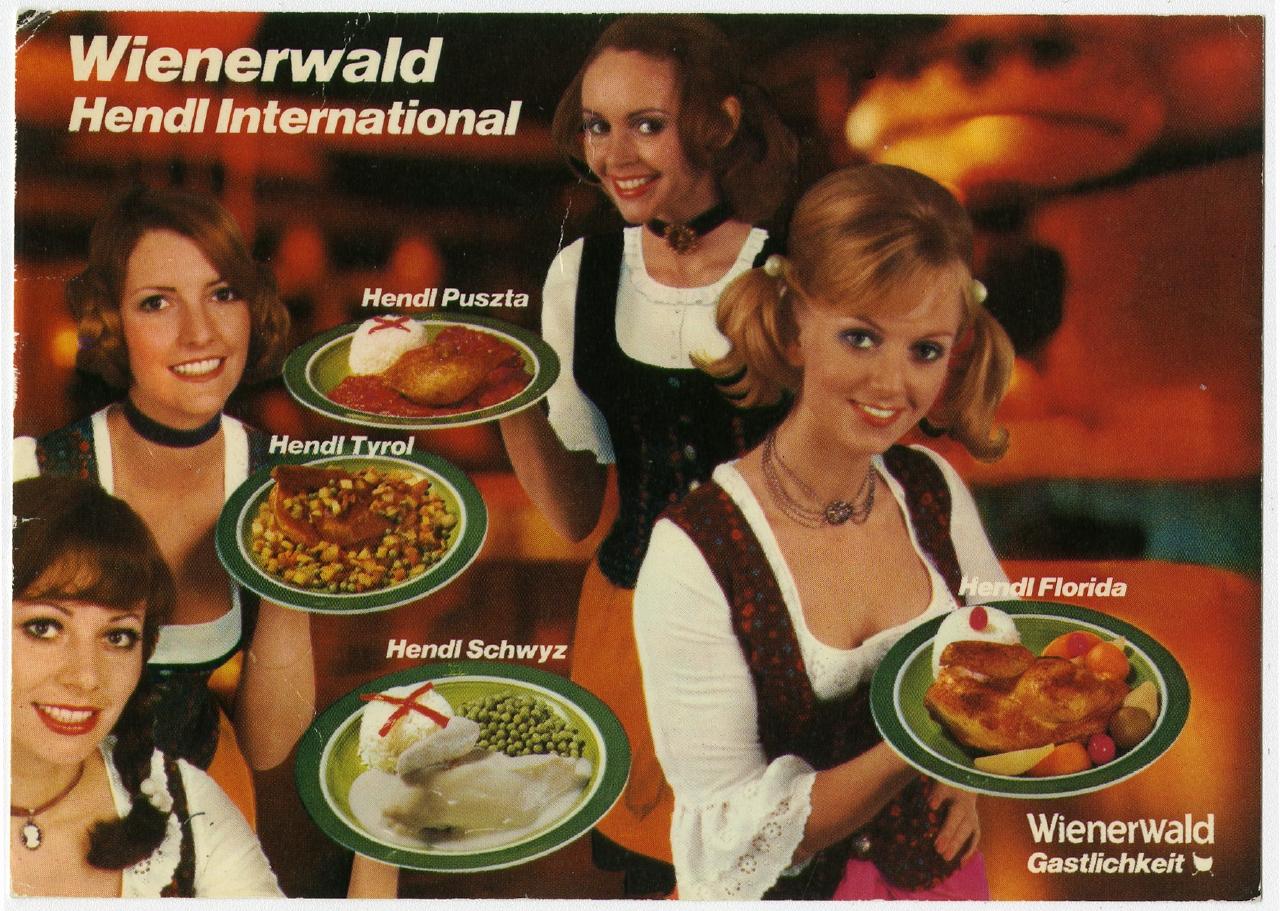 Wienerwald Hendl international um 1975 Ausstellung 150 Jahre Postkarte Museum für Kommunikation Berlin